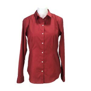 Eddie Bauer Red Button Down Career Shirt Fitted S